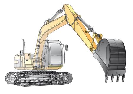 excavating machine: detailed vectorial image of yellow crawler excavator with carcass, isolated on white background. File contains gradients and transparency(isolated layer), not blends and.