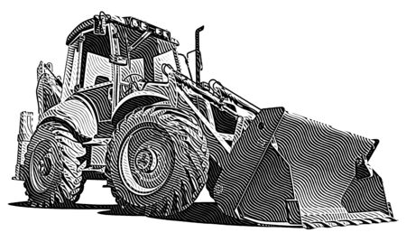 maquinaria pesada: imagen vectorial detallada de backfiller amarillo, aislado sobre fondo blanco. Contiene degradados.