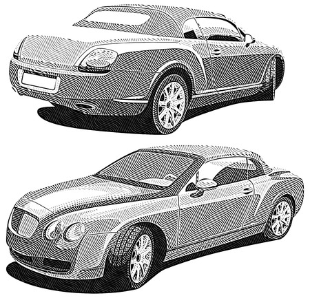 Detailed monochrome vectorial image of two projections of modern luxury car, isolated on white background. No blends and gradients.  Stock Vector - 8390744
