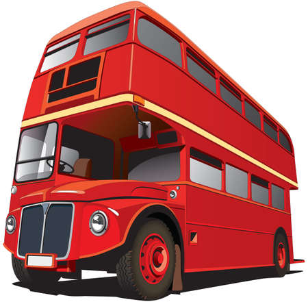 double decker: Detailed vectorial image of symbol of London - best-known of England double-decker bus -