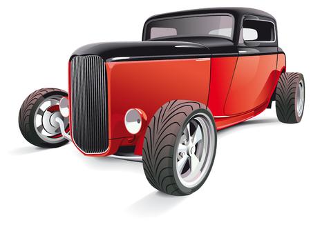 coche antiguo: Imagen vectorial de rojo hot rod, aislado sobre fondo blanco. Contiene degradados y fusiones.