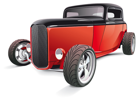 hot rod: Vectorial image of red hot rod, isolated on white background. Contains gradients and blends.