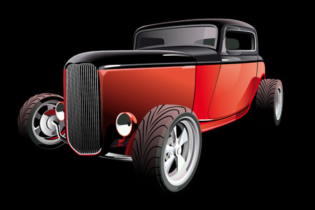 hot rod: Vectorial image of red hot rod, on black background. Contains gradients and blends. Illustration