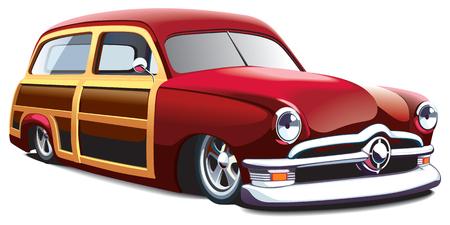 drag race: imagen vectorial de coche anticuada con cuerpo de madera, aislado en fondo blanco. El archivo contiene degradados y mezclas. No trazos.