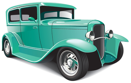 Vectorial image of green classical hot rod, isolated on white background. File contains blends and gradients. 向量圖像
