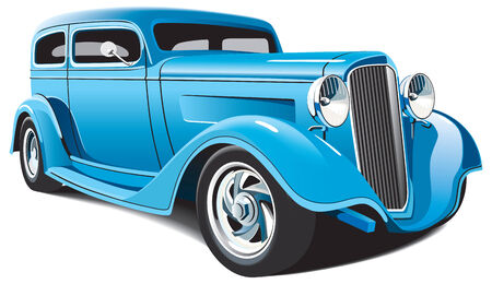 oude autos: vectorial image of light blue hot rod, isolated on white background. File contains grdients, blends and mesh. No strokes.