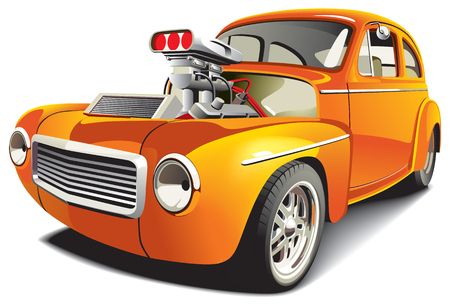 drag race: imagen vectorial de coche de arrastrar naranja, aislada en fondo blanco. El archivo contiene degradados, fusiones y malla. No trazos. Vectores