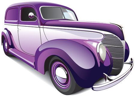 vectorial image of two-color hot rod, isolated on white background. File contains gradients and blends. No strokes. Vector