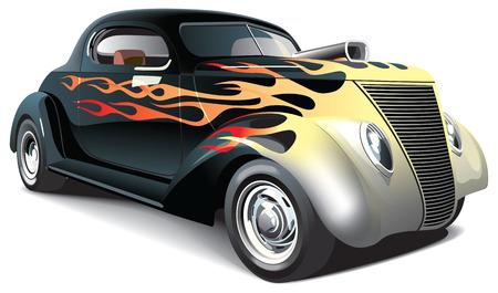 white car: immagine vettoriale di nero trascinare auto con ornamenti di fiamma sul corpo, isolato su sfondo bianco. File contiene sfumature, fusioni e maglie. No strokes. Vettoriali