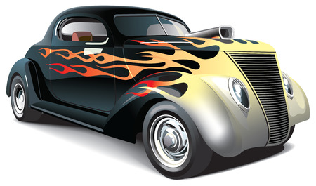 dragster: vectorial image of black drag car with flame ornaments on body, isolated on white background. File contains gradients, blends and mesh. No strokes.