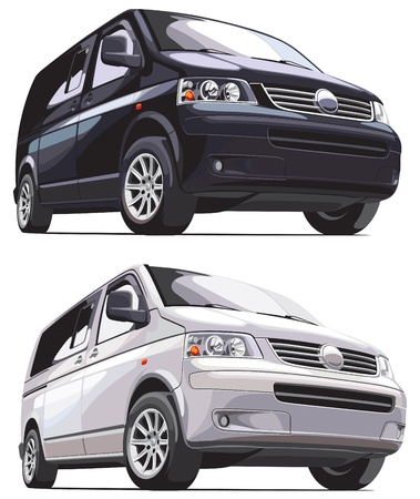 minibus: detailed vectorial image of modern european van, isolated on white background. Every van is in separate layer. No blends and gradients.