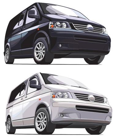 motorbus: imagen vectorial detallada de van europeo moderno, aislado sobre fondo blanco. Todos van es en una capa independiente. No mezclas y degradados.