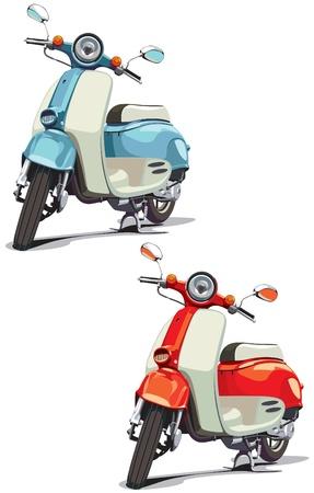 vespa: imagen vectorial de scooter anticuado, ejecutado en dos variantes de color. Cada scooter es en una capa independiente. No mezclas y degradados.