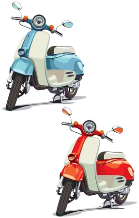 motor scooter: vectorial image of old-fashioned scooter, executed in two variants of color. Every scooter is in separate layer. No blends and gradients.