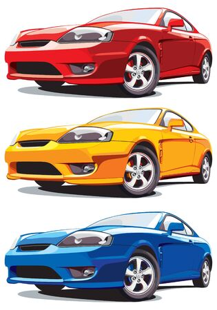 Set of vectorial modern sport cars, isolated on white background. Every car is in separate layer. No blends and gradients. Stock Vector - 9188681