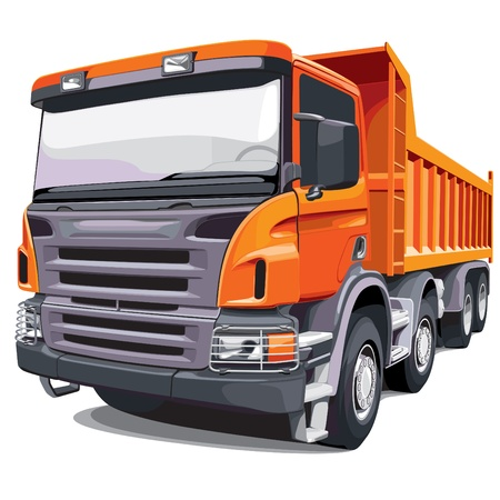 dump truck: Detailed vectorial image of large orange truck, isolated on white background. No blends and gradients.