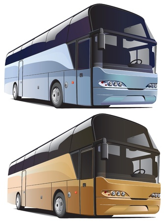 luxury travel: imagen vectorial de grandes autobuses, ejecutado en dos variantes de colores, aislados sobre fondo blanco. Archivo contiene degradados y fusiones. Sin trazos. Vectores