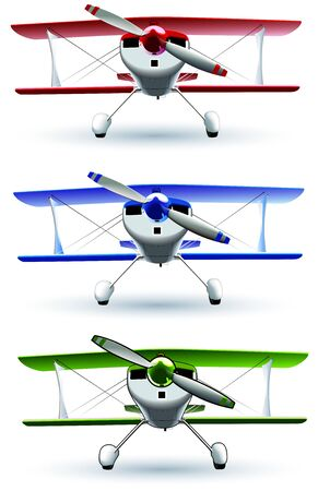 glider: set of vectorial image of sporting biplanes. File contains blends and gradients (green variant contains strokes). Illustration