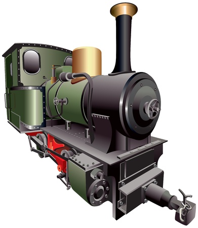 railway history: vectorial image of old-fashion steam train, isolated on white background. File contains gradients. No strokes, blends and mesh.