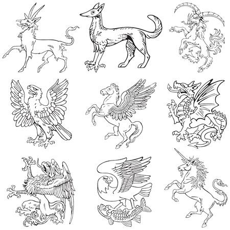 gravure: Pittogrammi vettoriali di mostri pi� araldici, eseguiti in stile di incisione su legno. No dlends, gradienti e ictus.