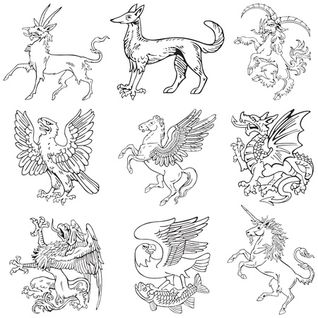 Vectorial pictograms of most heraldic monsters, executed in style of gravure on wood. No dlends, gradients and strokes. Stock Vector - 9932985