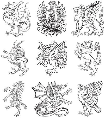 Vectorial pictograms of most heraldic monsters, executed in style of gravure on wood. No dlends, gradients and strokes. Vector