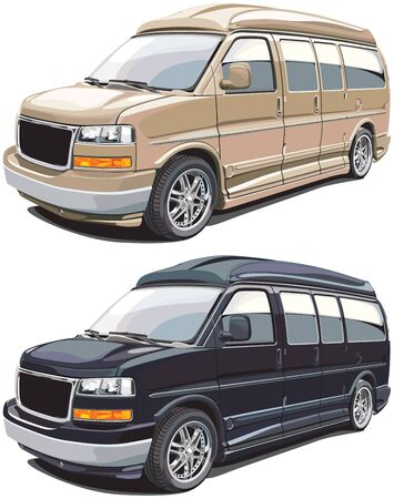 haul: detailed vectorial image of modern american van, executed in two variants of colors. Every van is in separate layer. No blends and gradients. Illustration