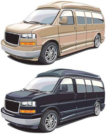 motorbus: imagen detallada vectorial de la moderna camioneta americana, ejecutado en dos variantes de colores. Cada van est� en la capa separada. No hay mezclas y los gradientes.