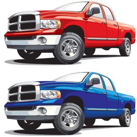 ciężarówka: Detailed vectorial image of american modern pickup, executed in two variants of color. Every pickup is in separate layer. No blends and gradients.