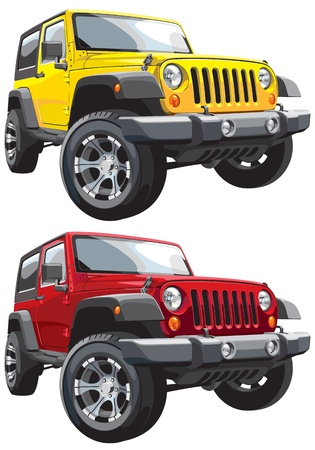 off road: image of american car, executed in two variants of color. Every car is in separate layer. No blends and gradients. Illustration