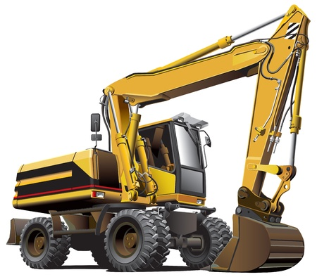 Detailed vectorial image of light-brown wheeled excavator, isolated on white background. File contains gradients, not blends and strokes.