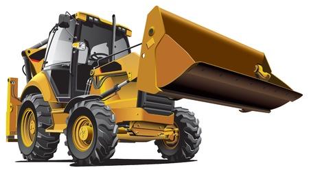 maquinaria pesada: Imagen vectorial detallada de backfiller amarillo, aislada sobre fondo blanco. Contiene degradados.