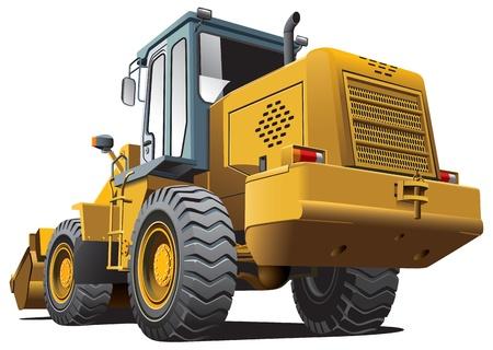 yellow tractor: Imagen detallada vectorial de la p�lida cargador de color marr�n, aisladas sobre fondo blanco. Contiene gradientes. Vectores