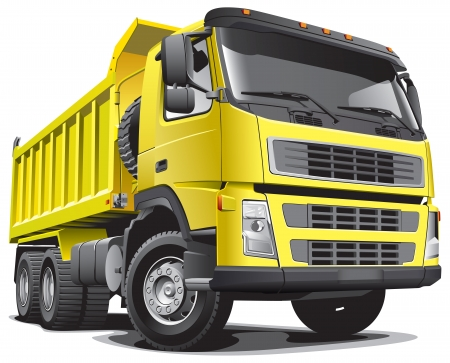 Detailed vectorial image of large yellow truck, isolated on white background. File contains gradients. Illustration