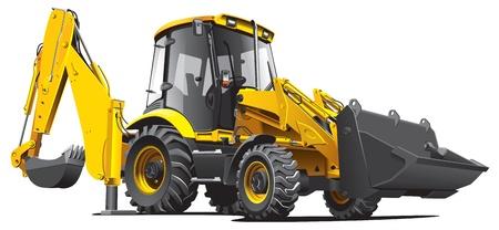 yellow tractor: Imagen vectorial detallada de backfiller amarillo, aislada sobre fondo blanco. Contiene degradados.