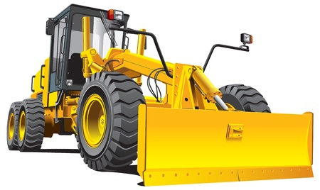 scraper: Detailed vectorial image of yellow roadgrader, isolated on white background. Contains gradients.