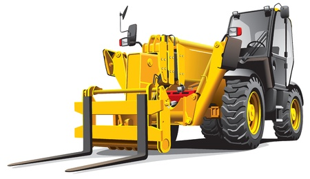 handling: detailed vectorial image of modern yellow telescopic loader, isolated on white background. File contains gradients, no blends and strokes. Illustration