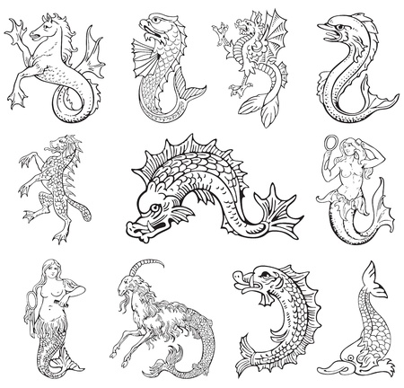 most: Pictograms of most heraldic sea monsters, executed in style of gravure on wood. No dlends, gradients and strokes.