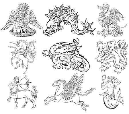 pegaso: Los pictogramas de la mayoría de los monstruos heráldicos, ejecutado en el estilo de grabado en madera. No dlends, gradientes y accidentes cerebrovasculares. Vectores