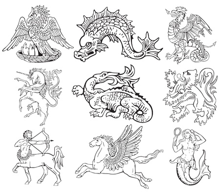 Pictograms of most heraldic monsters, executed in style of gravure on wood. No dlends, gradients and strokes. Vector