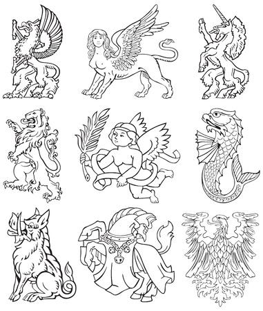 leon con alas: Pictogramas de los monstruos más heráldicos, ejecutados en estilo de rotograbado en madera. No dlends, degradados y trazos.