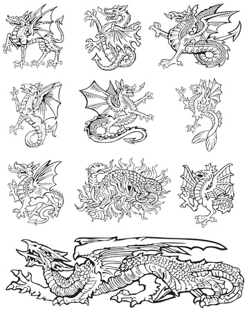 winged: Pictograms of most heraldic monsters - dragons, executed in style of gravure on wood. No dlends, gradients and strokes. Illustration