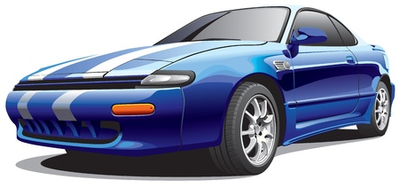 hot rod: Detailed image of dark-blue drag car, isolated on white background. File contains gradients. No blends and strokes.