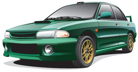 blends: Detailed image of dark-green drag car, isolated on white background. File contains gradients. No blends and strokes. Illustration