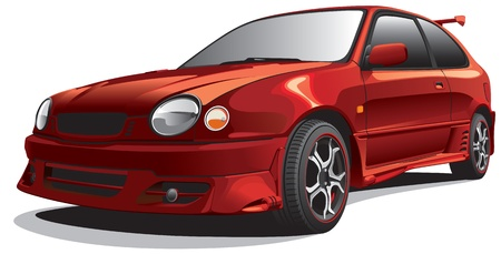 blends: Detailed image of dark-red drag car, isolated on white background. File contains gradients. No blends and strokes. Illustration