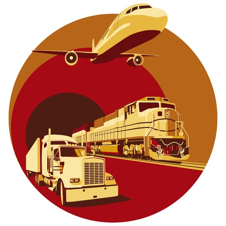 railway engine: round vignette on theme of cargo transportation with three basic types of transports, executed in the limited palette. No gradients and blends.