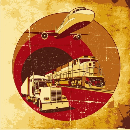 round vignette on theme of cargo transportation with three basic types of transports on old-paper background, executed in the limited palette. No gradients and blends. Vector