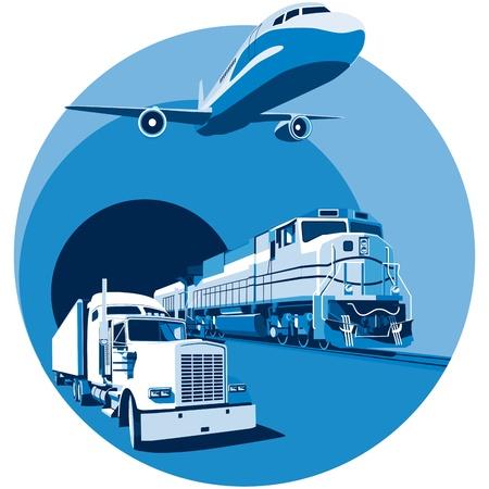 air freight: vignetta rotonda sul tema del trasporto merci con tre tipi fondamentali di trasporto, eseguite nella tavolozza limitata. Non ci sono sfumature e miscele.