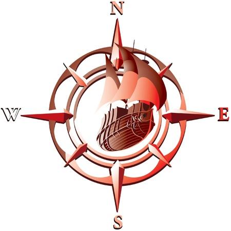 caravelle: illustration de la rose des vents avec le navire