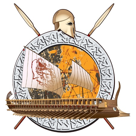 oar: round vignette with ancient ship on a grunge background in stone framing and two spears with greece helmet